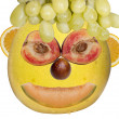 Human face with fruits — Stock Photo
