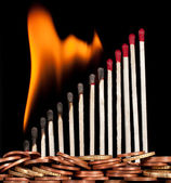 Graph of the burning matches — Stock Photo