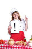Woman holding a sign with an exclamation mark — Stock Photo