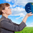 Woman holding a earth — Stock Photo