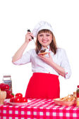 Attractive woman cooking — Stock Photo