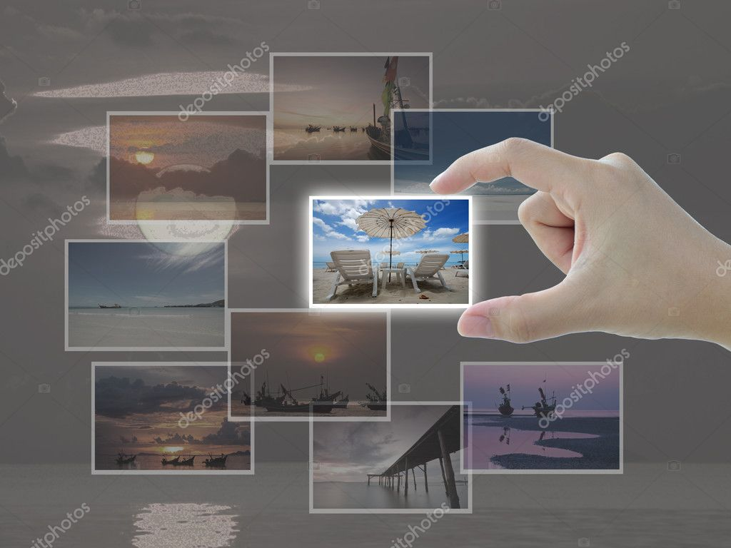 Artwork of travel selection in lady hand.  Stock Photo #12232693