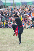 CHIANG RAI, THAILAND -DECEMBER 28: Tradition new year party and martial art shows of mong hill tribe ,Wiang pa pao where tourist daily visiting, December 28 2011 in Chiang rai, Thailand. — Stock Photo