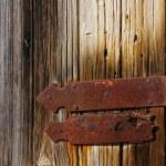 Wooden door with hinge — Stock Photo
