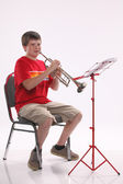 Teenage Boy Playing Trumpet — Stock Photo