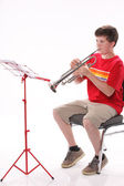 Teenage Boy Practicing Trumpet — Stock Photo
