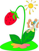 The fantastic fairy on a strawberry. — Stock Photo
