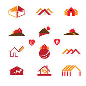 House & office logo icons for real estate business — Vetor de Stock