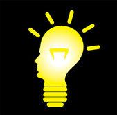Human head as bulb, concept of problem solving — Stock Vector