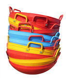 New colorful plastic baskets isolated on white — Stock Photo
