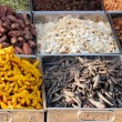 Dry fruits & spices displayed for sale in a bazaar — Stock Photo
