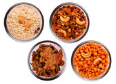 Traditional indian salty and spicy snacks in bowls — Stock Photo