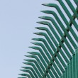 Pointed wrought iron bars forged to form a fence - Stock Photo