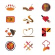 Hotel, resort and restaurant industry related food and logo icon - Stock Vector