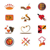 Hotel, resort and restaurant industry related food and logo icon — Stockvector