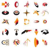 Collection d'affaires coloré identité et marque logo icônes cr — Vecteur