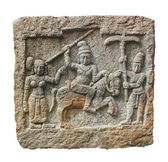Stone carving of hindu god and godess on a granite stone. The ca — Stock Photo