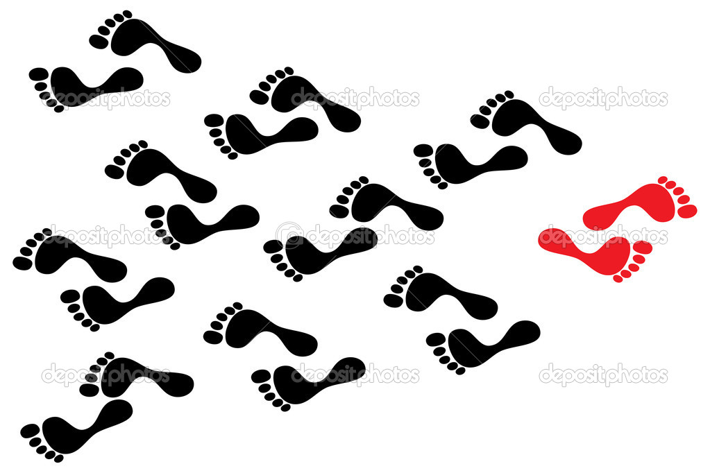 Concept of rebellion, flow against the tide, individuality, and path a leader follows. The black footprints show the path the crowd follows while the red footmark is way taken by determined person — Stock Vector #11523349