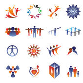 Collection set of icons and design elements related to community — Stock Vector