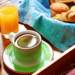 Morning wholesome breakfast or brunch on table with freshly brew — Stock Photo
