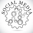Social media components shown in cog wheels working together syn - Stock Vector