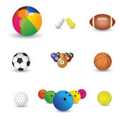 Collection of colorful sports balls illustration. The graphics i — Stock Vector