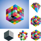 Illustration of colorful and mono-chromatic 3d cubes arranged in — Stock Vector