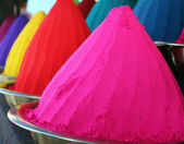 Piles and mounds of colorful dye powders for holi festival & oth — ストック写真