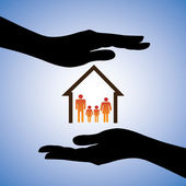 Concept illustration of safety of house and family. The graphic — Vector de stock