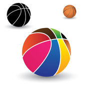 Illustration of beautiful colorful basket ball along with brown — Stock Vector