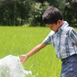 Handsome indian kid playing with water spring in a lush cultivat — Stock Photo