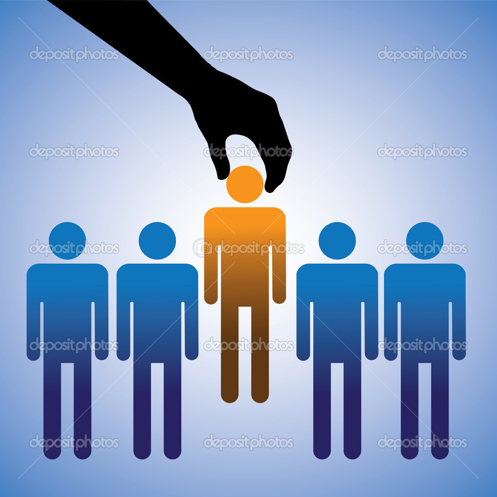 Concept illustration of hiring the best candidate. The graphic shows company making a choice of the person with right skills for the job among many candidates  Stock vektor #14105829