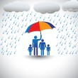 Father protecting family from heavy rain with umbrella. The grap — Векторная иллюстрация