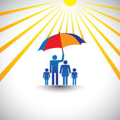 Otec chránit rodinu před horkým sluncem s deštníkem. grafika — Stock vektor