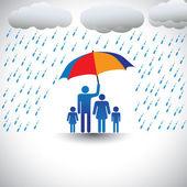 Otec chránit rodinu před silnými dešti s deštníkem. grap — Stock vektor
