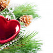 Christmas background with red heart — Stock Photo