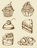 Vintage cakes and chocolate — Stock Vector