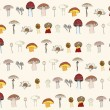 Stock Vector: Seamless mushrooms pattern