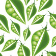 Green peas seamless pattern — Vettoriali Stock