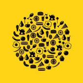 Voedsel pictogrammen — Stockvector