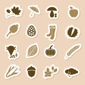 Autumn icon labels — Stock Vector