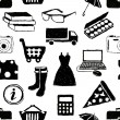 Doodle shopping seamless pattern — Image vectorielle
