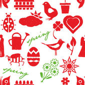 Seamless doodle spring pattern — Vector de stock