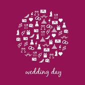 Icône de mariage en cercle — Vecteur