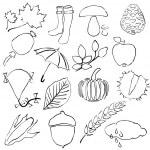 Doodle autumn images — Stock Vector