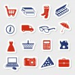 Shopping stickers — Stock Vector