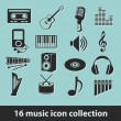 Stock Vector: 16 music icon collection