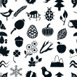 Doodle seamless nature pattern — Vettoriali Stock
