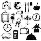 Doodle hotel obrázky — Stock vektor