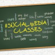 Stock Photo: Green chalkboard - Social media classes.